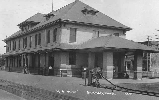 Black and white photograph of Staples train depot, c.1929. Initial reports of damage at the depot proved to be exaggerated.
