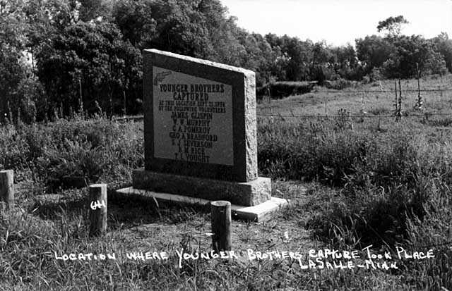 Black and white photograph of the monument marking where the Younger brothers were captured, c.1930.