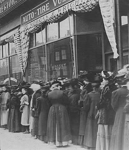 Women waiting in line to vote in an election (probably for a school board) in a downtown Minneapolis precinct c.1908.
