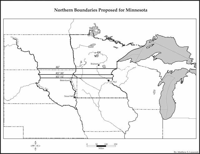 Map of three northern boundaries proposed for the state of Minnesota at varying degrees of latitude.