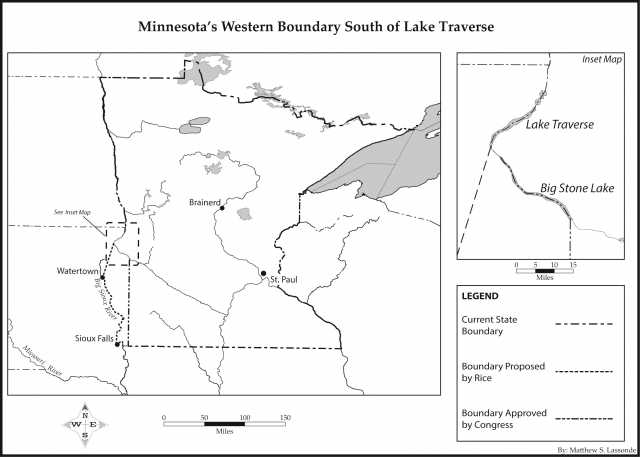 Map of Minnesota's western boundary south of Lake Traverse.