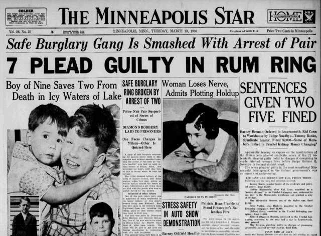 Newspaper headline announcing Kid Cann's 1934 conviction