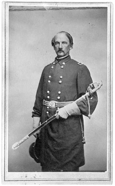 Black and white photograph of Henry Sibley wearing the uniform of a brigadier general, 1862.