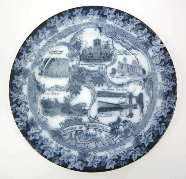 "Minneapolis souvenir plate with a picture of the ""Pro-Cathedral"" (Basilica)"