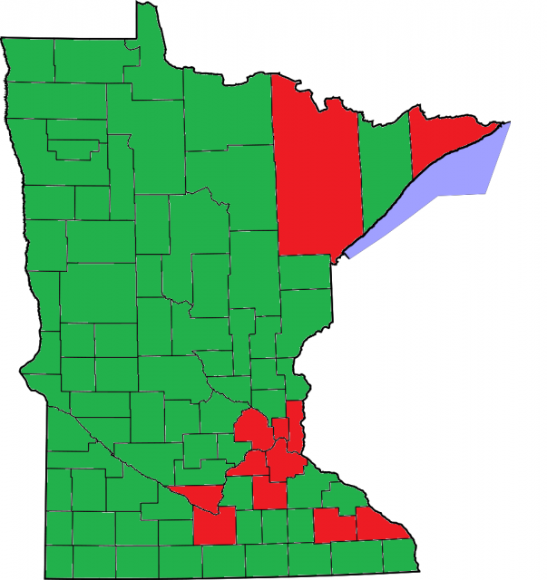 """Map of Minnesota showing the results of the marriage referendum included on ballots for the election held on November 6, 2012. Counties marked in red indicate a majority of """"no"""" votes; counties marked in green indicate a majority of """"yes"""" votes."""