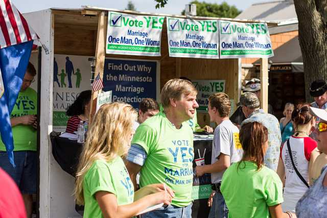 Color image of the Minnesotans for Marriage booth at the Minnesota State Fair. Photographed by Tony Webster on September 2, 2012.
