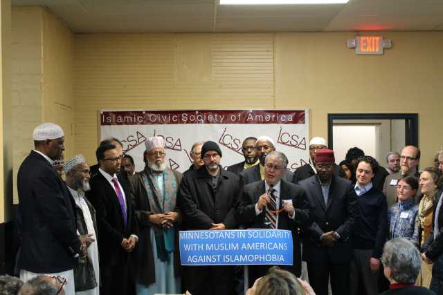 Color image of a Minnesotans in solidarity with Muslim Americans against Islamophobia event, 2015.