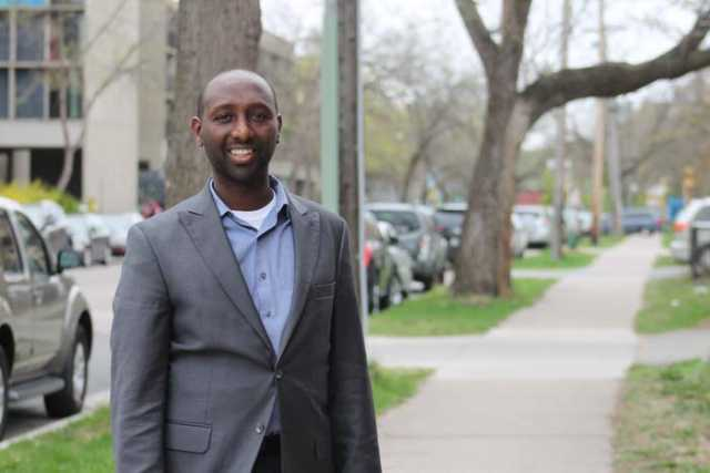 Color image of Mohamud Noor, executive director of the Confederation of Somali Community in Minnesota (CSCM). Photograph by Ibrahim Hirsi, April 24, 2017.