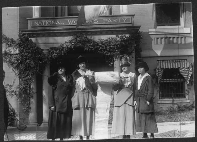 Suffragists present a petition