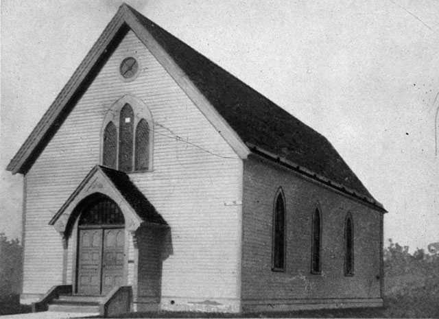 Black and white photograph of the first Mount Zion building c.1881.