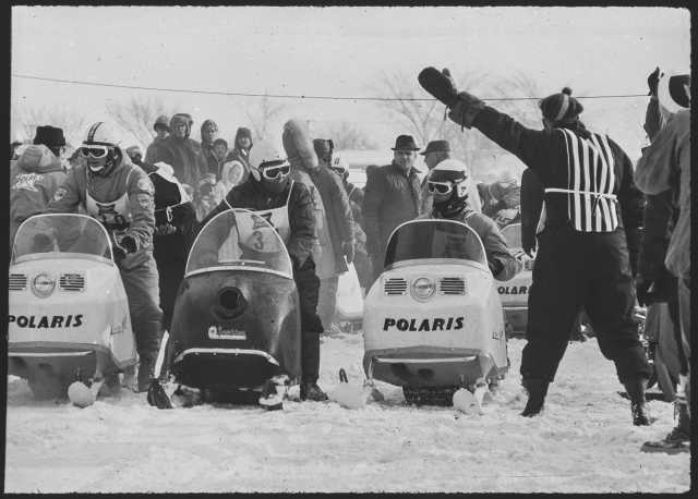 """Polaris sleds dominated the 1967 St. Paul Winter Carnival """"500"""" snowmobile race. From envelope titled """"Snowmobile race, January 1967, trans returned,"""" box 612 of the Minneapolis and St. Paul Newspaper Negatives Collection (1936–1987), Minnesota Historical Society, St. Paul."""
