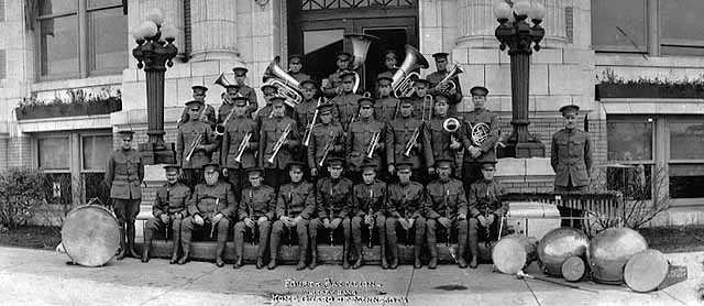 Black and white photograph of the Fourth Battalion Band, Minnesota Home Guard, c.1918.