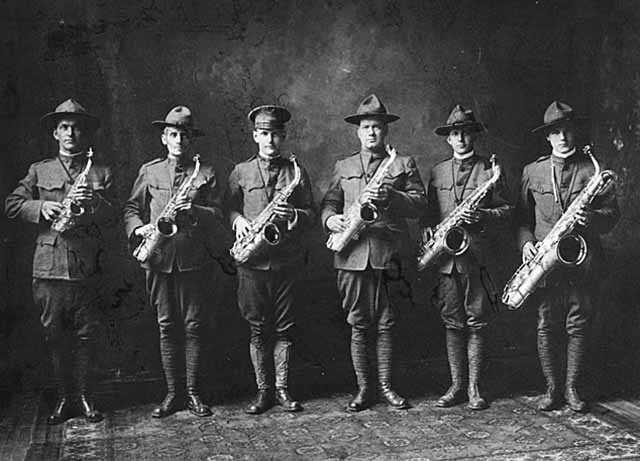 Black and white photograph of a Minnesota Home Guard Band, c.1918.