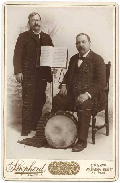 Cabinet photograph of two male musicians, ca. 1905. Photo by Shepherd Photo Company.
