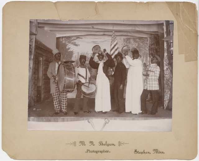 Members of a Salvation Army team put on a blackface minstrel show in Stephen, Minnesota, in January and February of 1887.