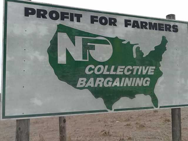 Color image of a National Farmers Organization sign on Highway 23, near St. Cloud. Photographed on January 24, 2016, by Therese Cain.