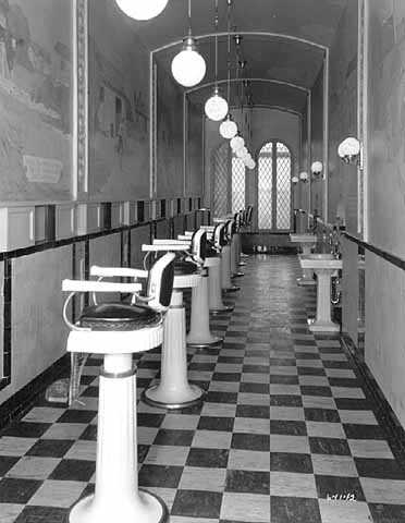 Black and white photograph of Children's barber shop, c.1926.