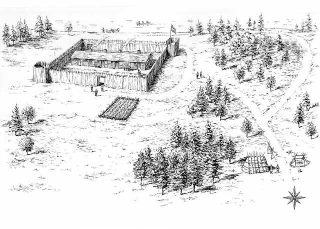 The Snake River Fur Post as it appeared during John Sayer's tenure as partner in the early nineteenth century. Drawn by David Geister, ca. 2000.