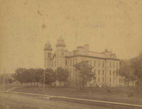 Black and white photograph of Mankato State Normal School, 1871.