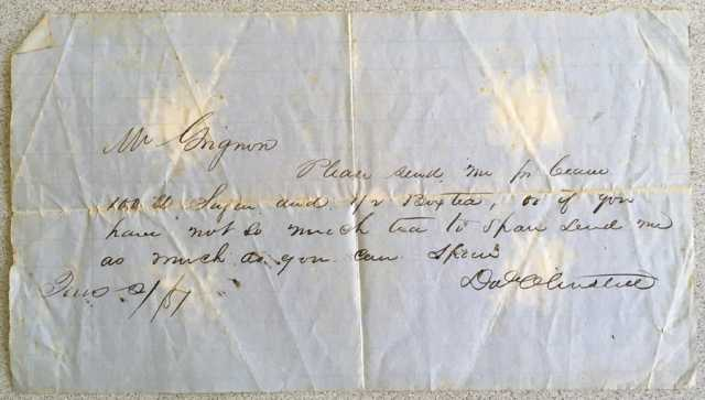 Letter from David Olmsted to Antoine Grignon