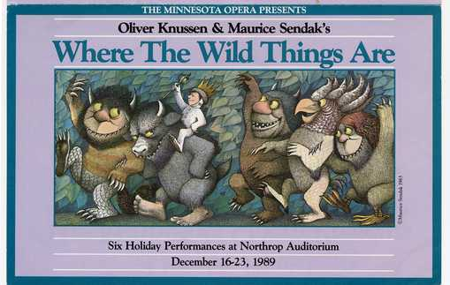 Postcard announcing Minnesota Opera production of Where the Wild Things Are