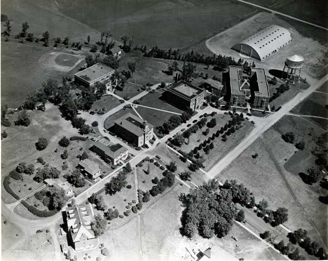 Black and white aerial view of Gustavus, 1940. Photograph donated by Bob Olson.