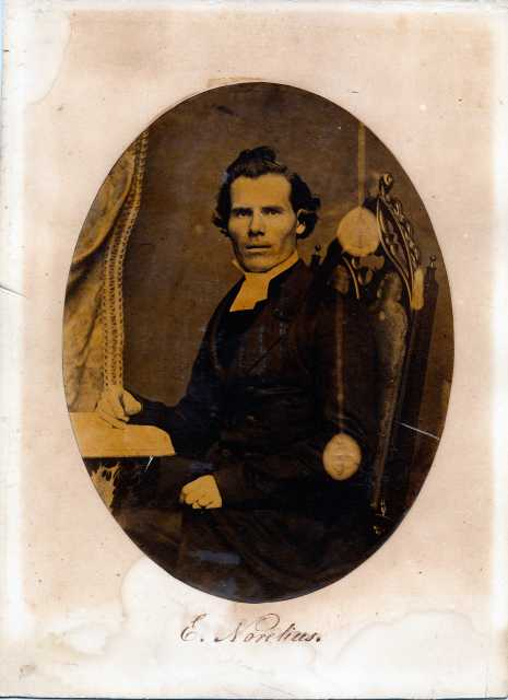 Black and white photograph of Rev. Eric Norelius, founder of the school that would become Gustavus Adolphus College.
