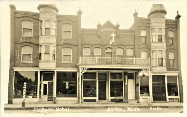 Postcard of the front of the Jackson Hotel, ca. 1939. The postcard was sent to relatives by Inez Foley, who worked at the hotel for a time. Used with the permission of the Anoka County Historical Society.