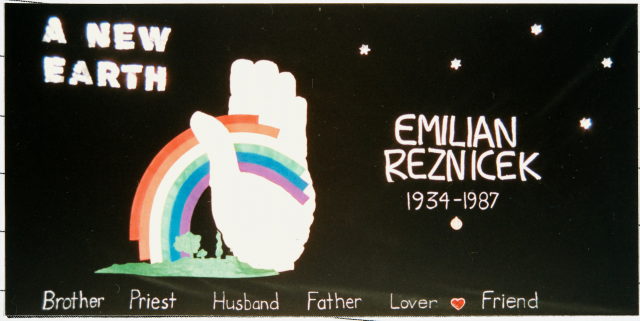 Color image of a quilt panel memorializing Emilian Reznicek, 1988.
