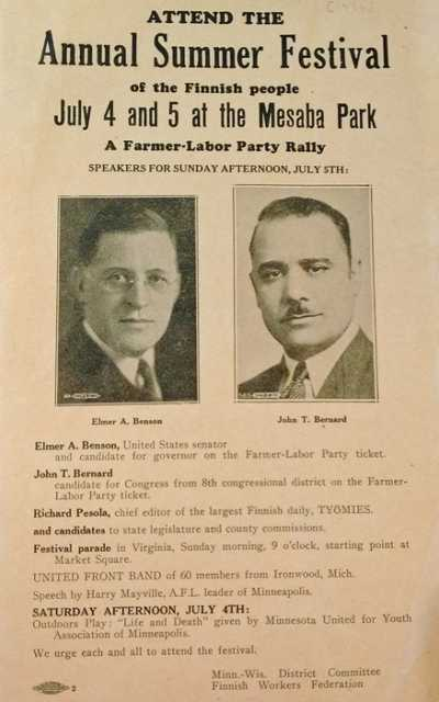 Color scan of a flyer advertising a Farmer-Labor Party rally held at Mesaba Park on July 5, 1936.