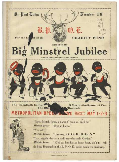 Cover art of the pamphlet handed out at the charity minstrel show. It features minstrel drawings and a hat advertisement in the form of a minstrel skit. From the Minnesota Historical Society pamphlet collection, St. Paul.
