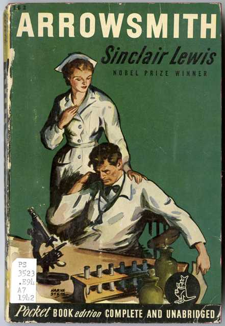Color scan of the cover of Sinclair Lewis' Arrowsmith. The novel won a Pulitzer Prize in 1926.