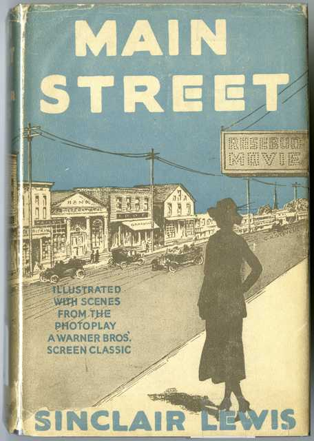 Color scan of the cover of Sinclair Lewis' novel Main Street, published in 1920.