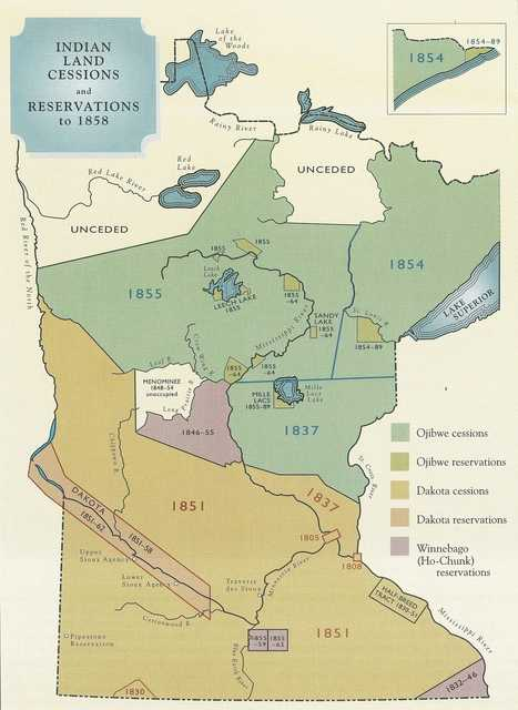 Color map of Indian Land Cessions and Reservations in Minnesota to 1858