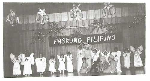 A nativity scene during Paskong Pilipino, the Fil-Minnesotan Association's annual Christmas celebration for children, held at Westwood Junior High School (St. Louis Park), 1980. Photograph by Luis Siojo.