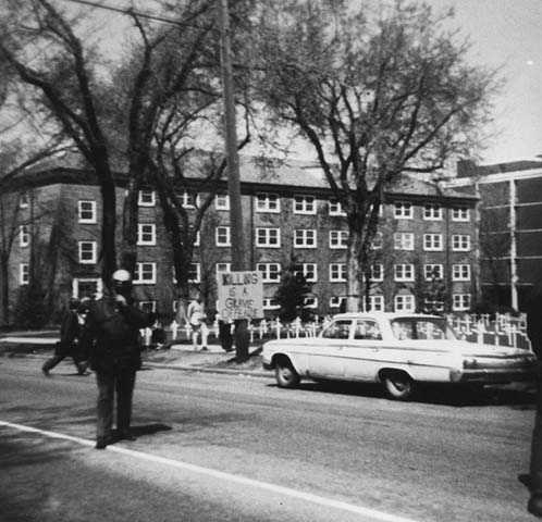 Photograph of anti-war protest, Macalester, 1970