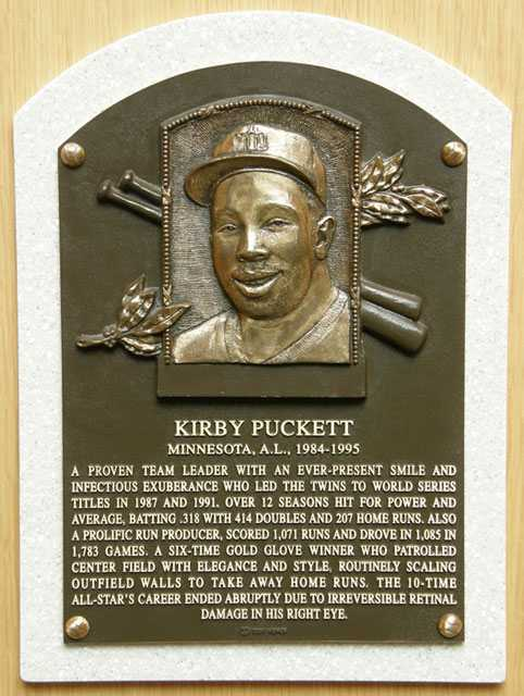 Color image of the Kirby Puckett memorial plaque in the National Baseball Hall of Fame in Cooperstown, New York, 2012.
