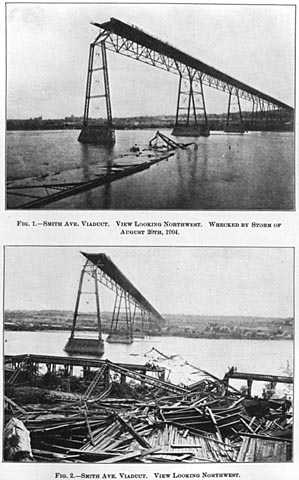 Black and white photoprint of High bridge after tornado August 20, 1904.