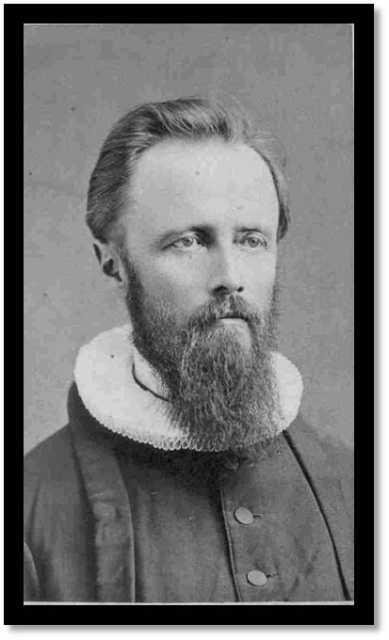 Black and white photograph of the Reverend Bernt J. Muus, c.1875.