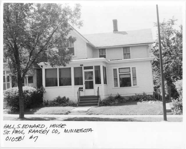 A photo of S. Edward Hall's house ca. 1990, before it was nominated to the National Register of Historic Places. Public domain.