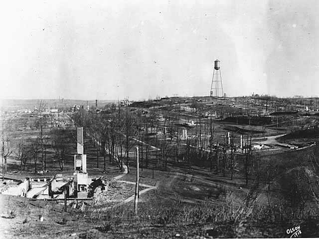 Black and white photograph of a view of Cloquet after fire, 1918.