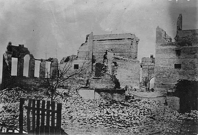 Black and white photograph of scene in Cloquet after the fire, 1918.