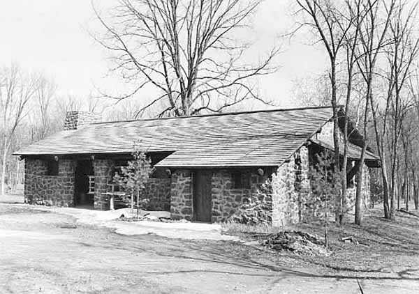 Black and white photograph of a park building, Interstate State Park, ca. 1936.