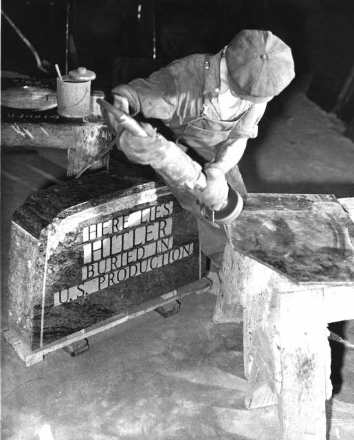 Black and white photograph of Hilter's Tombstone, c. 1945