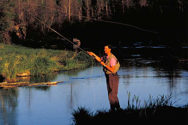 Trout fishing in the Whitewater River. Minnesota Department of Natural Resources, ca. 2000s.