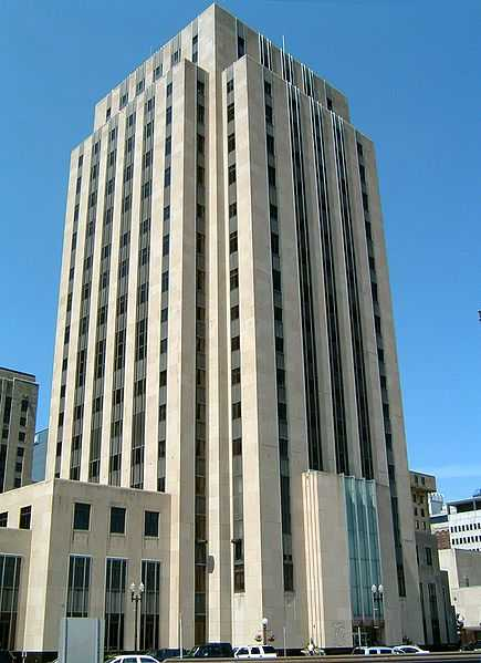 Color image of St. Paul City Hall and Ramsey County Courthouse viewed from the south side of Kellogg Boulevard, 2005.