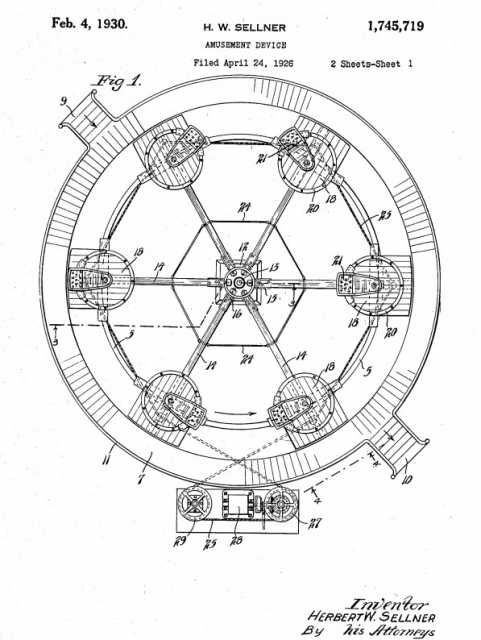 Tilt-A-Whirl patent application drawing