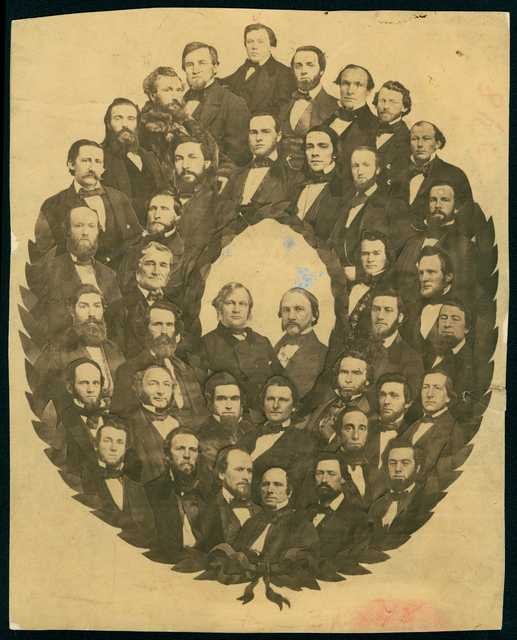 Photograph of Minnesota Senate with Alexander Ramsey and Henry Sibley