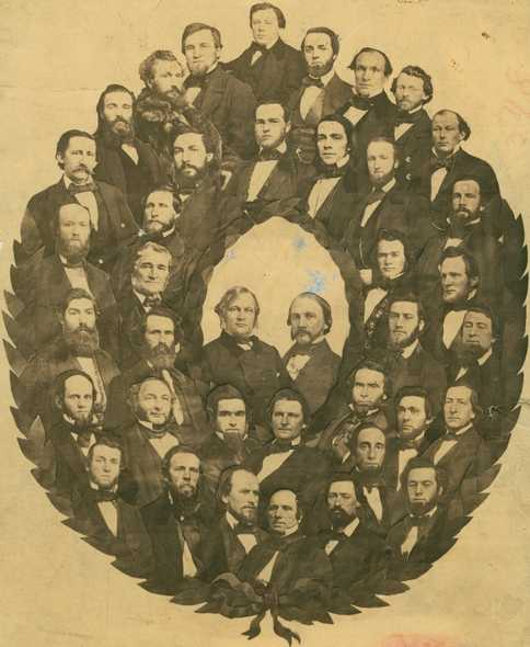 Black and white photograph of the Minnesota Senate with Alexander Ramsey and Henry H. Sibley, 1859.
