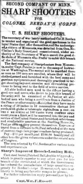 Northfield Telegraph, December 25, 1861. Recruiting advertisement placed by Captain William Russell for Colonel Berdan's Corps of US Sharpshooters. Used with the permission of St. Olaf College Archives.
